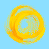 Handmade paint background yellow sun on blue sky. Royalty Free Stock Images
