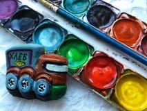 Truck. Paint drawing creativity truck Stock Image