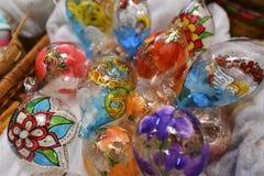 Handmade painted christmas ball decoration. Stock Photography