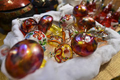 Handmade painted christmas ball decoration. Royalty Free Stock Images