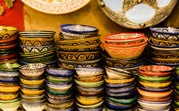 Handmade and painted colorful traditional plates on medina souk Royalty Free Stock Images