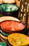 Handmade and painted colorful traditional plates on medina souke Stock Images