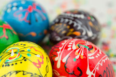 Handmade painted Easter eggs Stock Photo