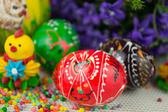 Handmade painted Easter eggs Royalty Free Stock Images