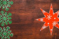 Handmade painted in red and white wooden star Stock Photography