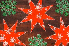 Handmade painted wooden red stars Royalty Free Stock Photography