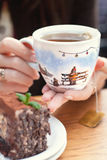 A handmade painting white cup of Christmas mood Royalty Free Stock Images