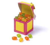Handmade paper box with candy Stock Images