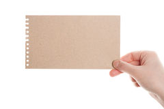 Handmade paper card in woman hand Stock Images