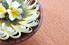 Handmade paper design decorated with plumeria flowers Stock Image