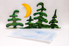 Handmade paper forest Stock Image