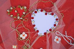 Handmade paper heart with free space for a text Stock Image