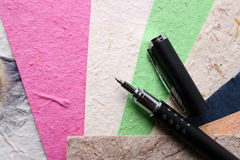 Handmade Paper and Pen Royalty Free Stock Image