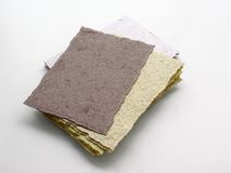 Handmade paper. Several sheets of handmade cardstock Royalty Free Stock Image