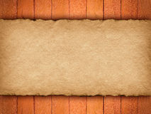 Handmade paper sheet on wooden background Stock Photos