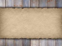 Handmade paper sheet on wooden planks Stock Photo