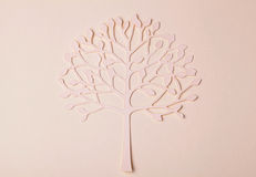 Handmade paper tree silhouette on paper background Royalty Free Stock Images