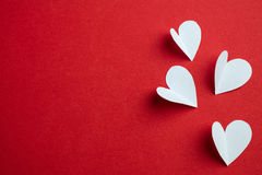 Handmade papers hearts - Love background Stock Images