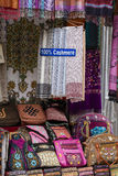 Handmade pashmina shawl with delicate embroidery at outdoor crafts market in Kathmandu, Nepal Royalty Free Stock Photo