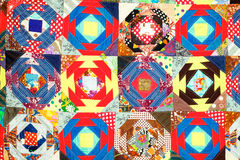 Handmade patchwork quilt. Fabric textured background Stock Photo