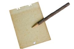 Handmade pencil on old paper Royalty Free Stock Image