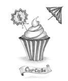 Handmade Pencil sketch cupcake with price umbrella ribbon on white Stock Photos