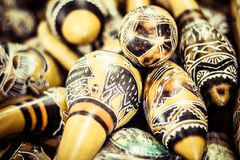 Handmade peruvian maracas in local market Stock Photos
