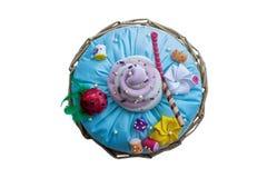 Handmade Pilow torta odosobniony odgórny widok Zdjęcie Stock