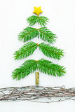 Handmade Pine Bough Christmas Tree Royalty Free Stock Images