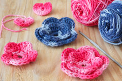 Handmade pink and blue crochet flowers and heart Royalty Free Stock Photography