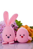 pink easter bunny and chick  with flower Stock Photography