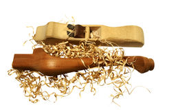 Handmade Plane with shavings and cabriole leg Stock Image