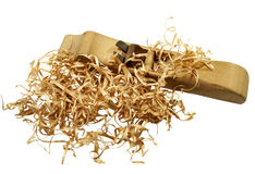 Handmade Plane with wood shavings Royalty Free Stock Photos