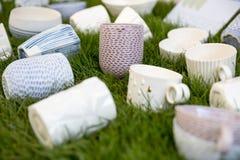 Handmade porcelain cups Stock Photography