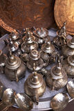 Handmade pots and pans in souks of Marrakech Royalty Free Stock Images