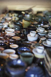 Handmade Pottery displayed in a grouping royalty free stock photography
