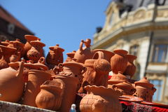 Handmade pottery. Pottery Fair in Grand Square, Sibiu, Romania - the oldest cultural event in Sibiu, takes place each year, in Grand Square of Sibiu, simulating Stock Photo