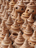 Handmade pottery in market Stock Images