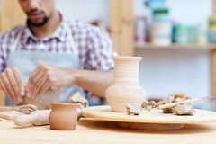 Handmade pottery in workshop Royalty Free Stock Photography