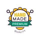 Handmade premium quality logo template, retro needlework craft badge, handicraft element vector illustration Stock Photography