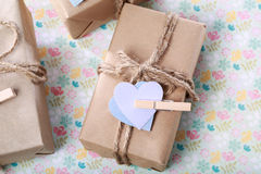 Handmade Present Box in pastel theme Stock Images