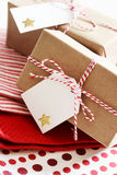 Handmade present boxes with tags Stock Image