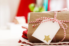 Handmade present boxes with tags Stock Photo