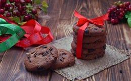 Handmade prezent Czekoladowego układ scalony ciastka fotografia stock