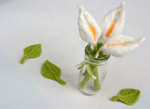 Handmade product, lily flower knit, craft Royalty Free Stock Photos