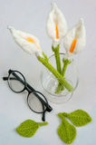 Handmade product, lily flower knit, craft Stock Photo