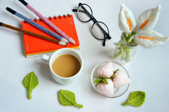 Handmade product, lily flower knit, craft Stock Images