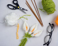 Handmade product, lily flower knit, craft Stock Photography
