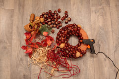 Handmade Production Christmas Wreaths. Royalty Free Stock Photo