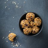 Handmade protein energy balls, superfood healthy snack stock photography